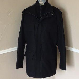 Wool Double Zipper Snap Waist Cinch Sweater P Coat